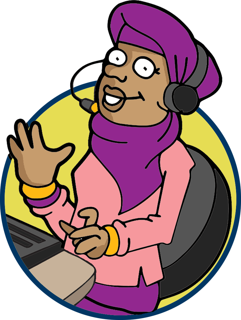Image of a telesales lady.  She's sitting down at a computer keyboard and she wears headphones and a microphone.