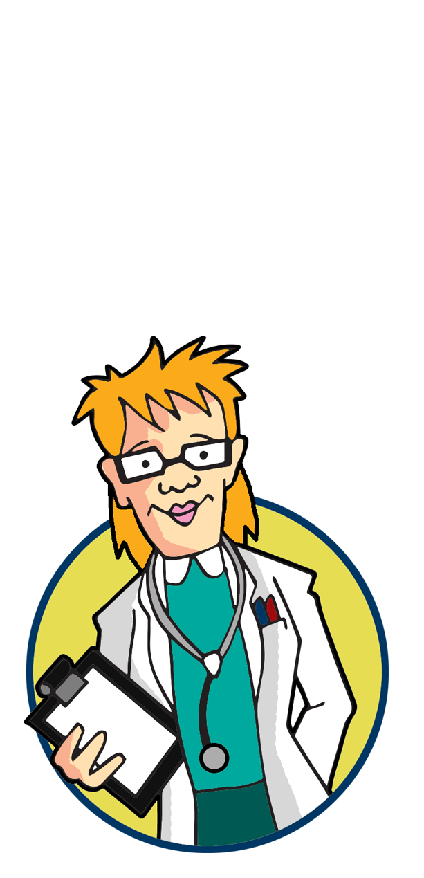 Image of a lady doctor, she wears glasses, a white coat and has a stethoscope around her neck and she is holding a clipboard