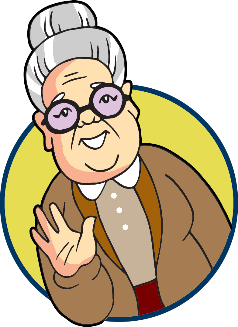 Image of a grey haired elderly lady.  She is wearing glasses and smiling and waving in our direction.