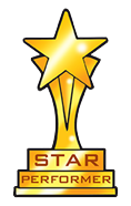 Star performer trophy.  It's tall with a star on the top and it's gold coloured and says 'Star Performer' on the base.