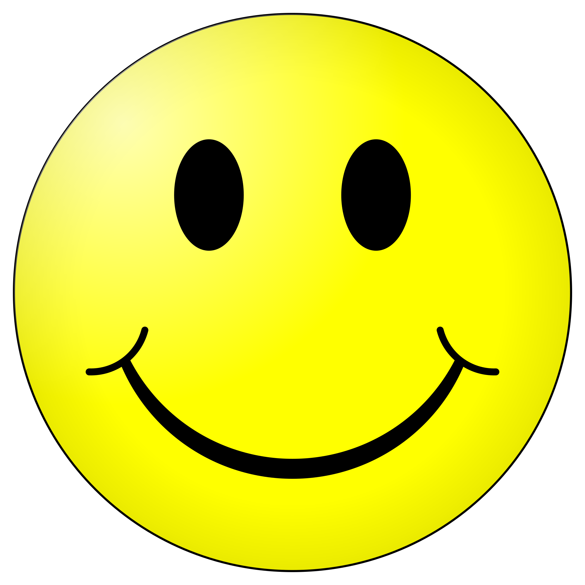 This is an image of a bright yellow  happy smiling Smiley emoji.